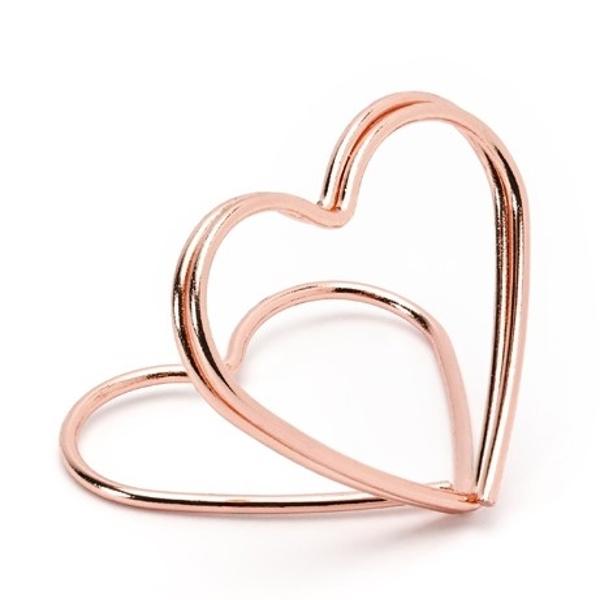 STOJANČEK NA MENOVKY srdce ružové zlato 10 ks