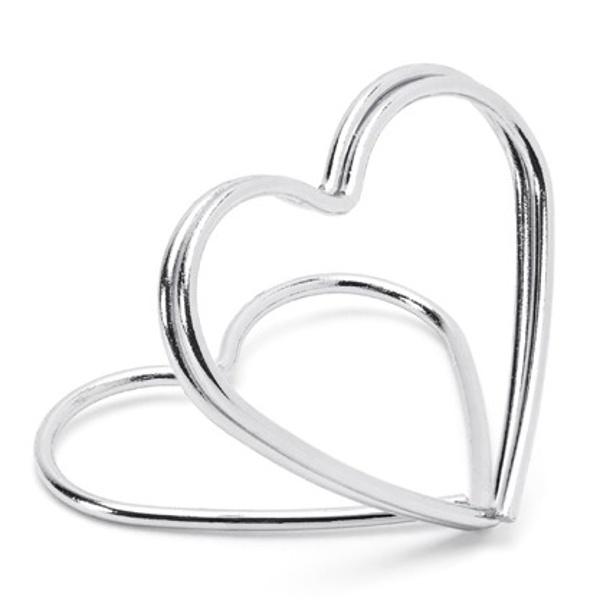 STOJANČEK NA MENOVKY srdce strieborné 10ks