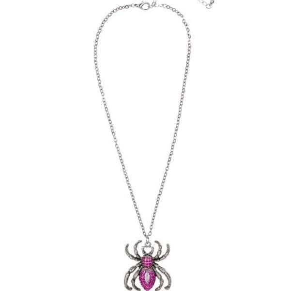 STRIEBORNÝ náhrdelník pavúk s fialovými kamienkami