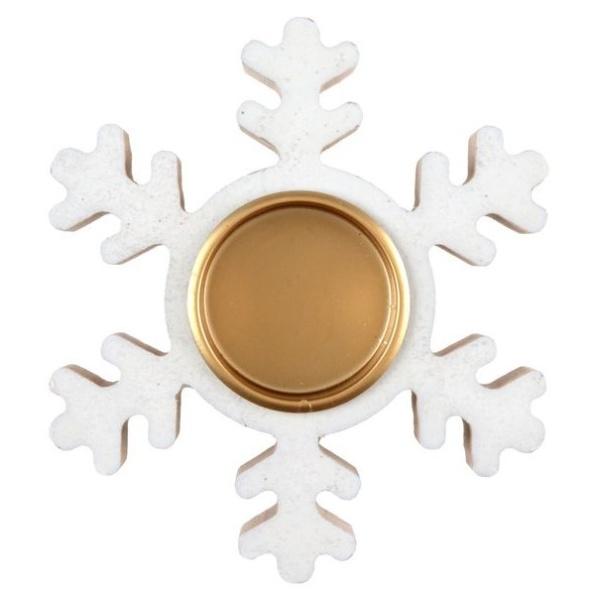 Vianočný svietnik biely s glitrami Vločka