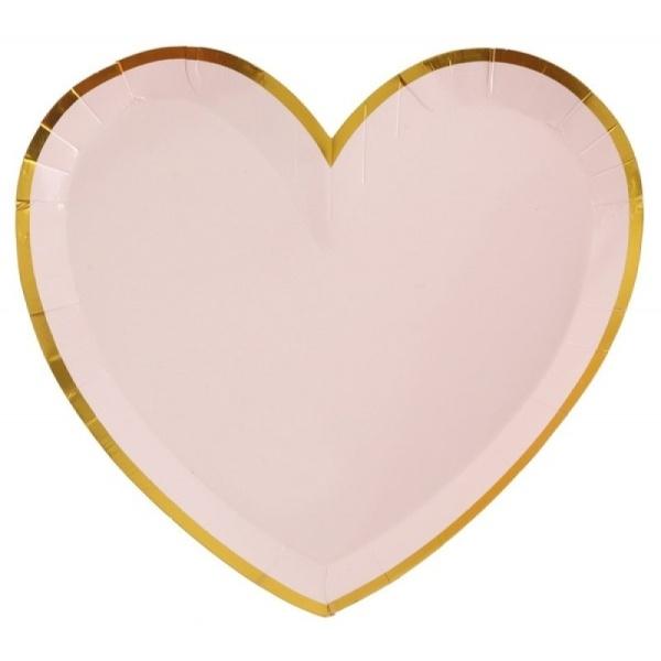 Tanierik papierový ružový so zlatým okrajom 10ks