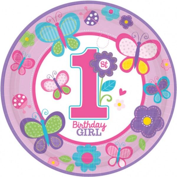 TANIERE 1. narodeniny dievčatko s motýliky 23 cm, 8 ks