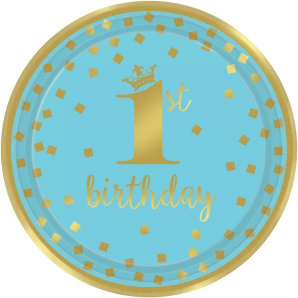 TANIERE papierové 1. narodeniny modré so zlatom 23 cm, 8 ks
