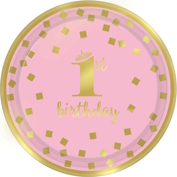 TANIERE papierové 1. narodeniny ružové so zlatom 18 cm, 8 ks
