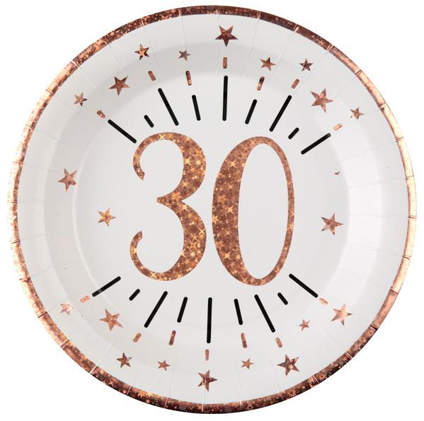 TANIERE papierové 30. narodeniny Rose Gold 22,5cm 10ks
