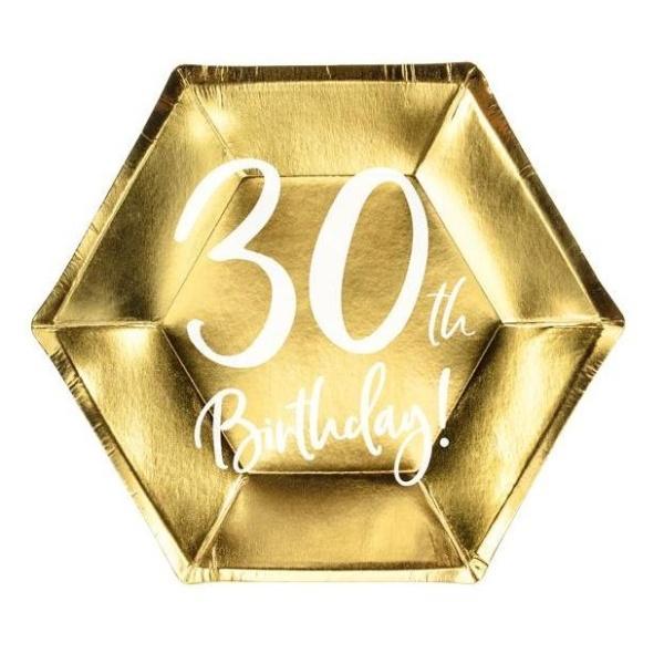 TANIERE papierové 30. narodeniny zlaté 20cm
