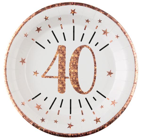 TANIERE papierové 40. narodeniny Rose Gold 22,5cm 10ks