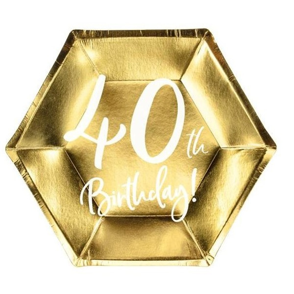 TANIERE papierové 40. narodeniny zlaté 20cm