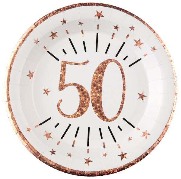 TANIERE papierové 50. narodeniny Rose Gold 22,5cm 10ks