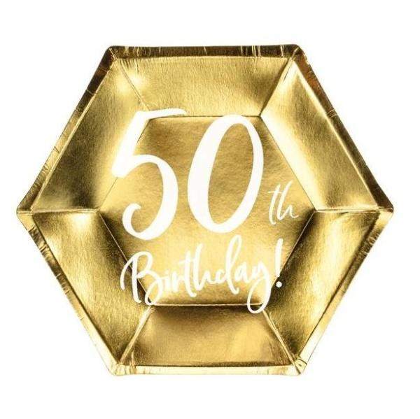 TANIERE papierové 50. narodeniny zlaté 20cm