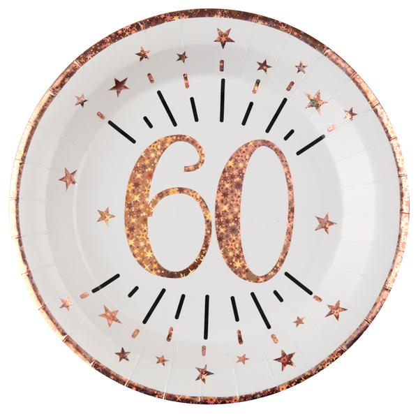 TANIERE papierové 60. narodeniny Rose Gold 22,5cm 10ks