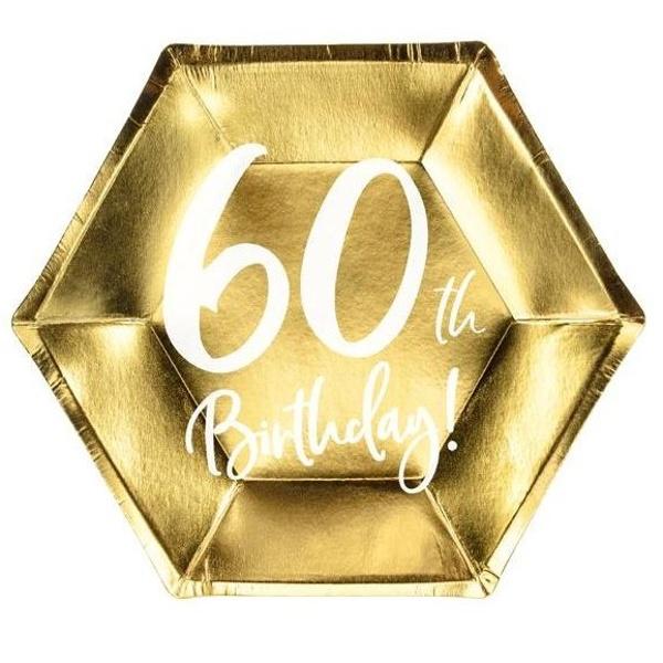 TANIERE papierové 60. narodeniny zlaté 20cm