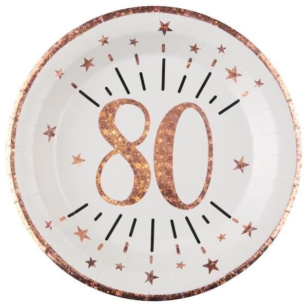 TANIERE papierové 80. narodeniny Rose Gold 22,5cm 10ks