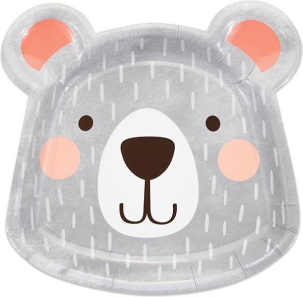 TANIERE papierové Medvedík hlava 23cm 8ks
