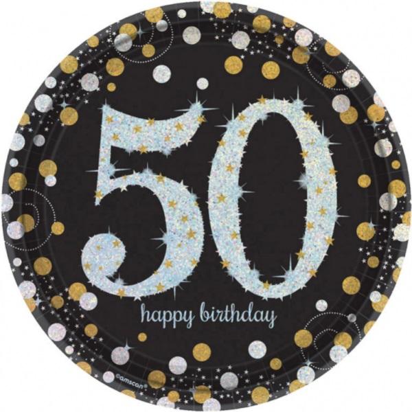 "TANIERE papierové Sparkling Celebrations ""50"" 23cm 8ks"