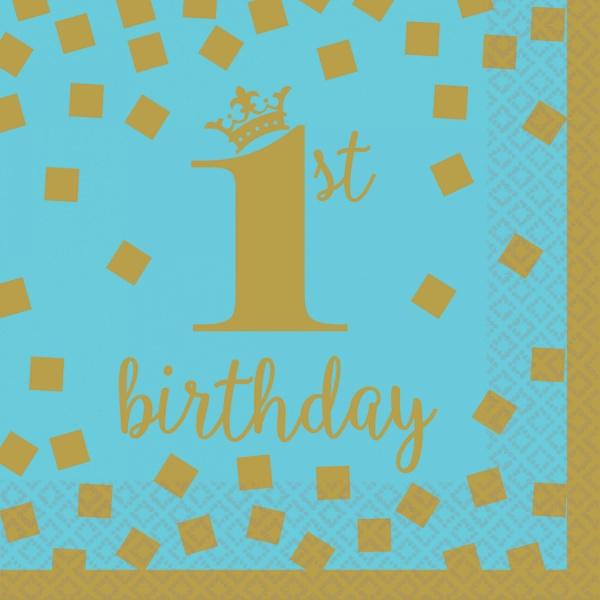 SERVÍTKY 1. narodeniny modré so zlatom 25x25 cm, 16 ks