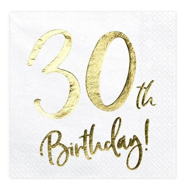SERVÍTKY 30. narodeniny biele so zlatým nápisom