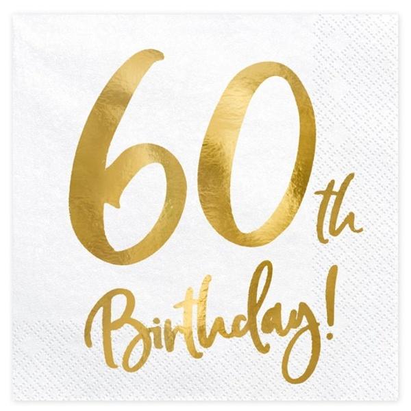 SERVÍTKY 60.narodeniny biele so zlatým nápisom 33x33cm