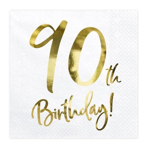 OBRÚSKY 90. narodeniny biele so zlatým nápisom