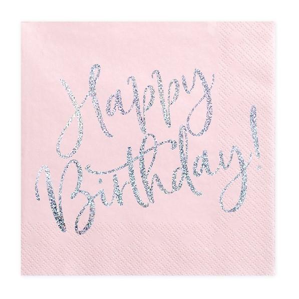 OBRÚSKY Happy Birthday sv. ružové 33x33cm