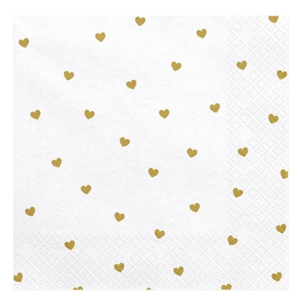 SERVÍTKY biele so zlatými srdiečkami 33x33 cm, 20 ks