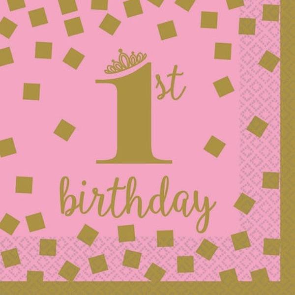 SERVÍTKY papierové 1. narodeniny ružové so zlatom 25x25 cm, 16 ks