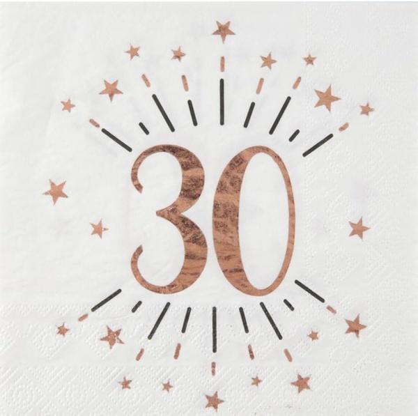 SERVÍTKY papierové 30. narodeniny Rose Gold 10ks