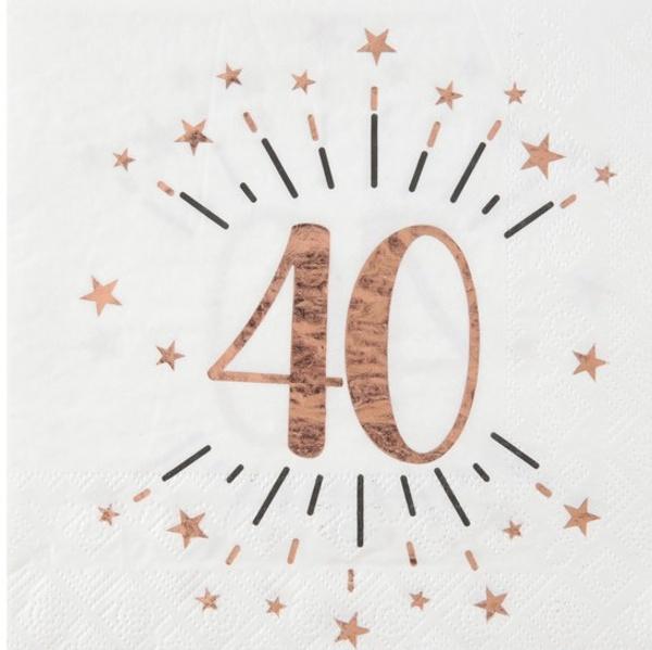 SERVÍTKY papierové 40. narodeniny Rose Gold 10ks