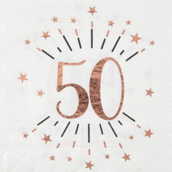 SERVÍTKY papierové 50. narodeniny Rose Gold 10ks