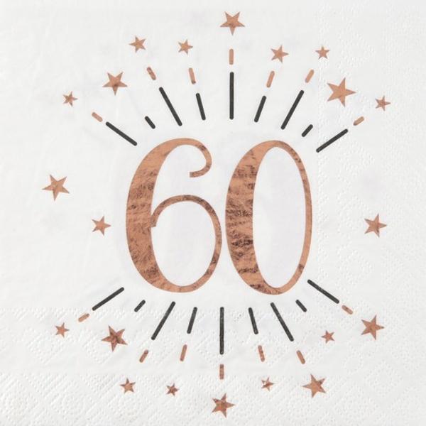 SERVÍTKY papierové 60. narodeniny Rose Gold 10ks