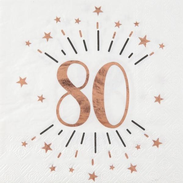 SERVÍTKY papierové 80. narodeniny Rose Gold 10ks