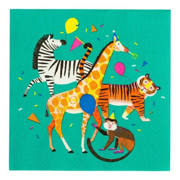 SERVÍTKY papierové Animal Party 33x33cm 20ks