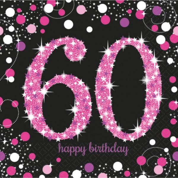 """SERVÍTKY papierové Sparkling ružové """"60"""" 33x33 cm, 16 ks"""
