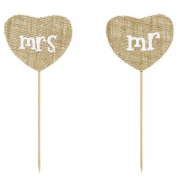 ZÁPICHY na tortu Jutové srdce Mr & Mrs 18,5cm