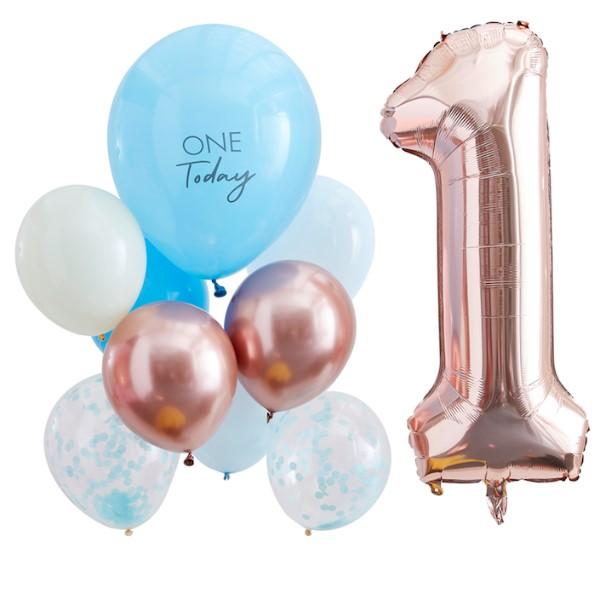 SET balónikov 1. narodeniny modré/Rose Gold 10ks