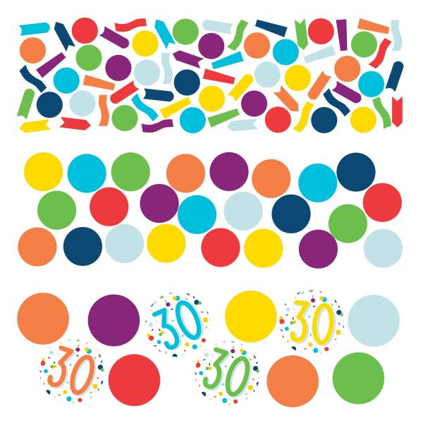 KONFETY dekoračné farebné 30. narodeniny 34g