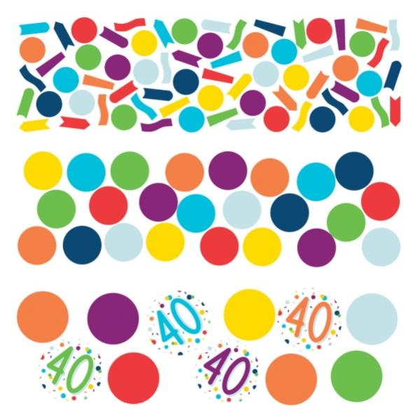 KONFETY dekoračné farebné 40. narodeniny 34g