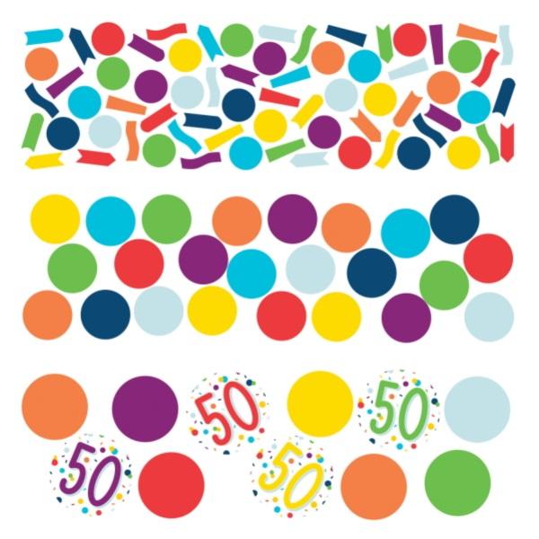 KONFETY dekoračné farebné 50. narodeniny 34g