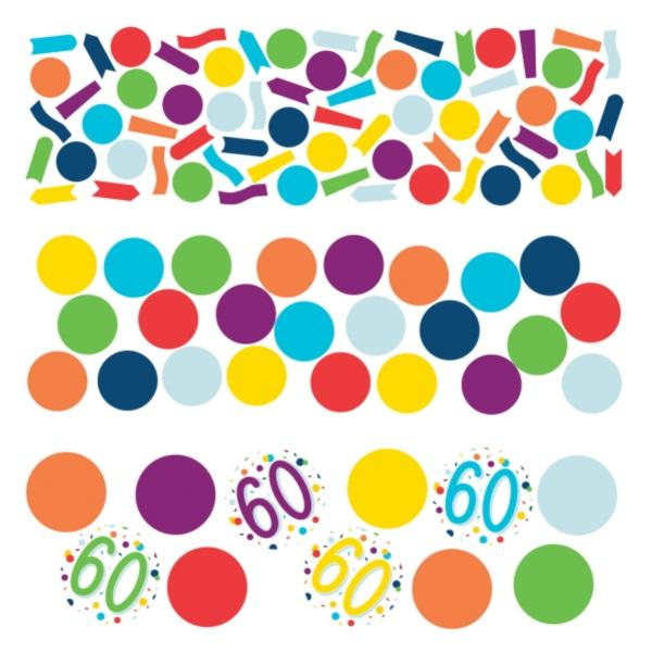 KONFETY dekoračné farebné 60. narodeniny 34g